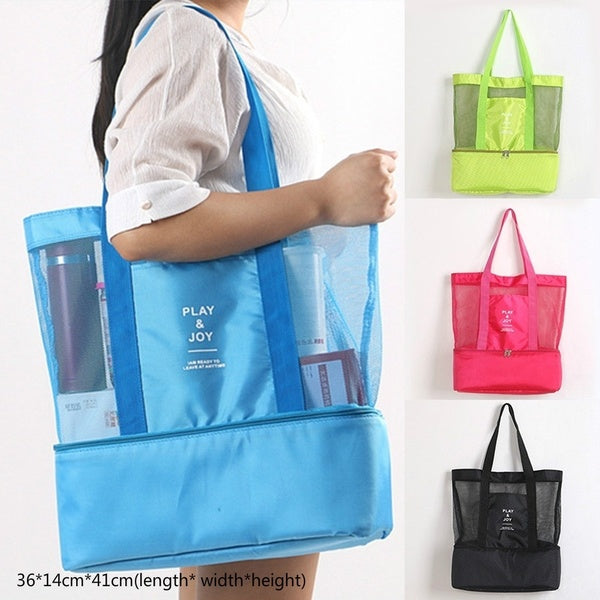 Portable Insulated Cooler Bag Food Picnic Beach Mesh Bags Cooler Tote Waterproof Bags