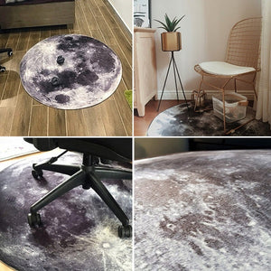 Grey Moon Round Floor Mats Carpet Rug Anti-slip Doormat