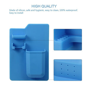 Silicone Toothbrush Holder Bathroom Organizer Wall Storage Cup Toothpaste Razor Rack for Shower and Bathroom