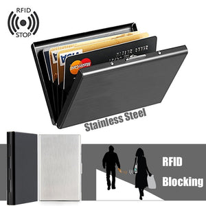 Anti-Scan Stainless Steel Case Slim RFID Blocking Wallet ID Credit Card Holder Men