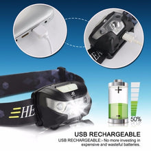 Load image into Gallery viewer, Mini Rechargeable LED Headlamp 3000Lm Body Motion Sensor Headlight Camping Flashlight Head Light Torch Lamp with USB