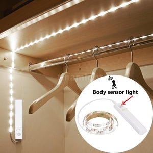 Sensor Strip Light Cabinet Lamp with Automatic & Manual 2 Switch Modes Remote Battery Powered Operated 1M 30LEDs SMD2835 for Wardrobe Cabinet Closet Cupboard