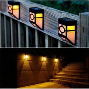 Solar Powered Mount LED Wall Light Outdoor Garden Path Landscape Fence Yard Lamp