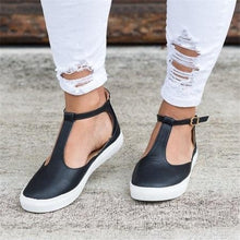Load image into Gallery viewer, Women Flats Loafers Cutout Casual Leather Shoes T-Strap Sneakers