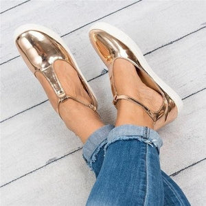 Women Flats Loafers Cutout Casual Leather Shoes T-Strap Sneakers