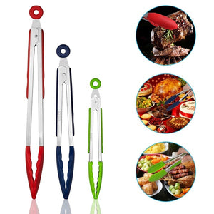 Set of 3 Silicone Barbeque Tongs Stainless Steel Kitchen Tongs