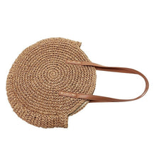 Load image into Gallery viewer, Summer New Fashion Outdoor Circular Beach Straw Braided Woven Beach Bag Travel Sling Bag Tote Bag