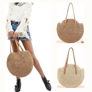 Summer New Fashion Outdoor Circular Beach Straw Braided Woven Beach Bag Travel Sling Bag Tote Bag