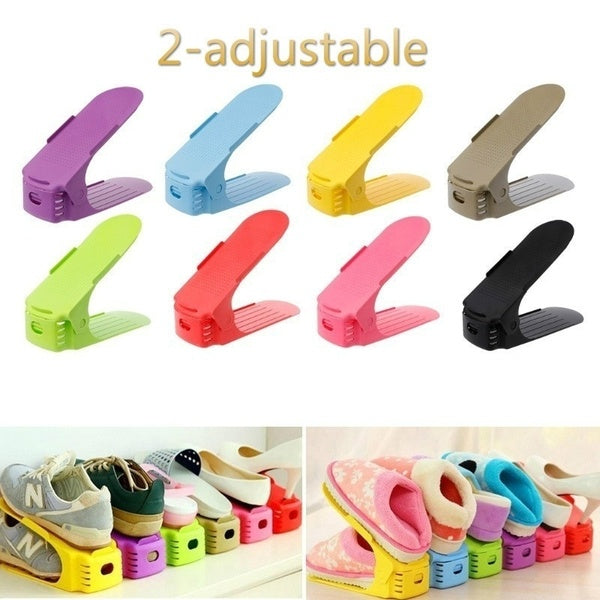 8 Colors Adjustable Plastic Shoes Rack Durable Space Saving Storage Rack