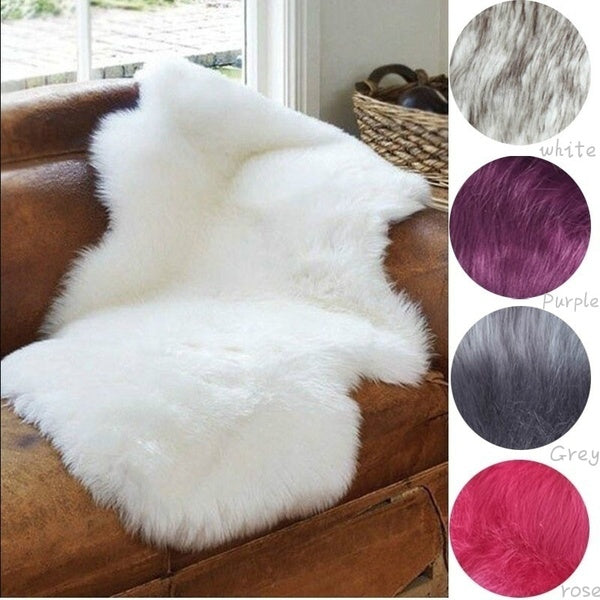 4-in-1 Super Soft Washable Shiny Sheepskin Fur Wool Carpets Runner Rugs