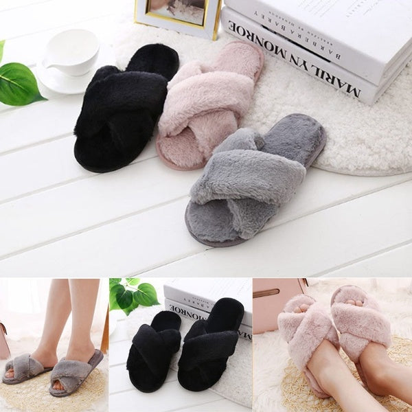 New Fashion Women's Cross Fluffy Slippers Slim Cotton Slippers Flat Slippers Home