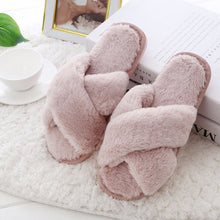 Load image into Gallery viewer, New Fashion Women's Cross Fluffy Slippers Slim Cotton Slippers Flat Slippers Home