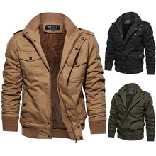Load image into Gallery viewer, Long Sleeve Outdoor Casual Zipper Jackets Velvet Military Jacket