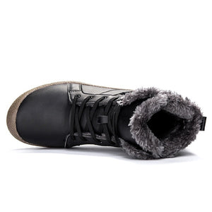Men Women Lace Up Waterproof Outdoor Anti-Slip Faux Fur Lined Ankle Snow Boots