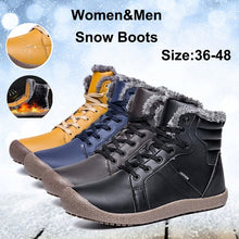 Load image into Gallery viewer, Men Women Lace Up Waterproof Outdoor Anti-Slip Faux Fur Lined Ankle Snow Boots