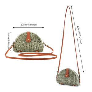 Women Crossbody Round Straw Bag Handbag Shoulder Beach Travel Rattan Bag Summer