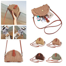 Load image into Gallery viewer, Women Crossbody Round Straw Bag Handbag Shoulder Beach Travel Rattan Bag Summer