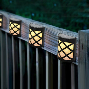 4pcs Waterproof Solar Power LED Light Wall-mounted Lamp For Garden Path Courtyard Fence