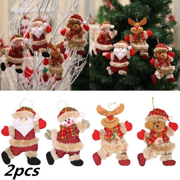 2Pcs Hot Sale Merry Christmas Ornaments Tree Doll Hanging Decorations