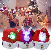 Load image into Gallery viewer, LED Christmas Hat Santa Claus Reindeer Snowman Hats New Year Xmas Gifts Cap