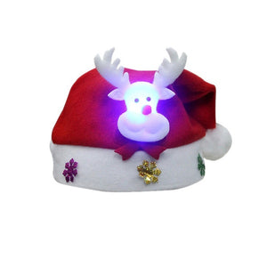 LED Christmas Hat Santa Claus Reindeer Snowman Hats New Year Xmas Gifts Cap