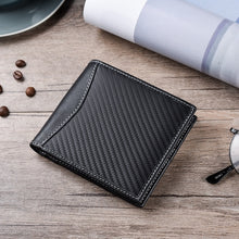 Load image into Gallery viewer, Mens RFID Carbon Black ID Wallet Slim Credit Card Holder Minimalist