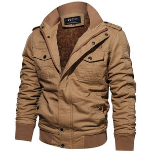 Long Sleeve Outdoor Casual Zipper Jackets Velvet Military Jacket
