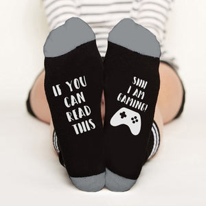 Unisex Socks If You Can Read This Say I Am Gaming Printed Funny Winter Warm Socks