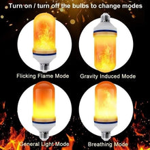 Load image into Gallery viewer, 4 Modes Gravity Sensor Fire Light Bulb LED Flame Effect Natural Light E27 Flickering Holiday Decoration (4pcs)