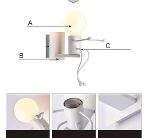 Modern Cartoon Doll Wall Light LED Creative Mounted Iron Applique Lighting Lamp for Kids Bedroom