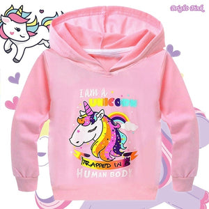New Girls Fashion Hooded Sweatshirt Casual Long Sleeve Printed Solid Color for Baby Children