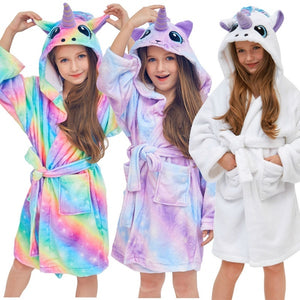 Kids Unicorn Hooded Robe Fleece Hoody Sleepwear Pajamas
