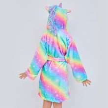 Load image into Gallery viewer, Kids Unicorn Hooded Robe Fleece Hoody Sleepwear Pajamas