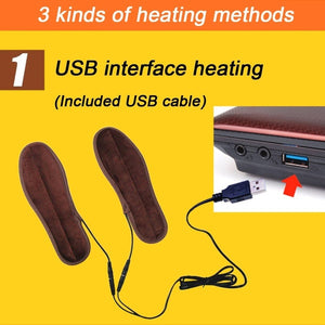 1 Pair USB Electric Heated Shoe Insoles Feet Warmer Sock Pad Mat with Cable