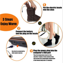 Load image into Gallery viewer, 1 Pair USB Electric Heated Shoe Insoles Feet Warmer Sock Pad Mat with Cable