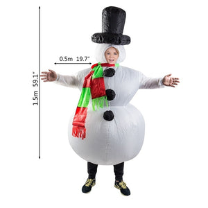 Santa Claus Snowman Inflatable Suit Christmas Party Costume Clothes Xmas Beard Hat
