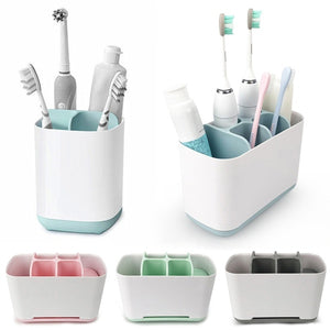 Home Organizer Electric Toothbrush Stand Toothpaste Dispenser Holder Storage Rack Bathroom Accessories Cup