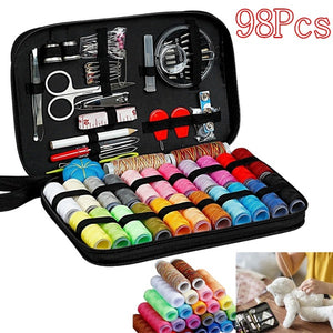 Large Capacity Black Sewing Kit Bag Portable Home Sewing Equipment