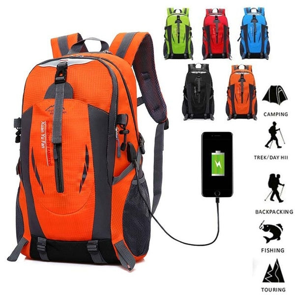 50L USB Outdoor Hiking Sport Trekking Fishing Waterproof Camping Backpack