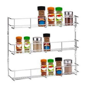 Silver Kitchen Spice Rack Cabinet Shelf Organizer Storage Wall Mount Holder