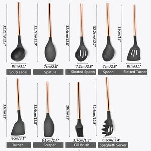 Silicone Non-scratch Cooking Kitchen Utensils Set Rose Gold Stainless Steel Handle