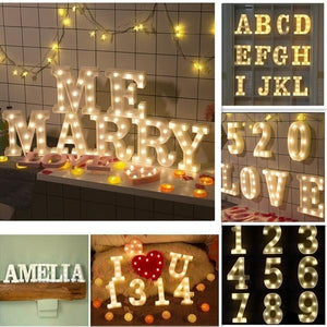3D 26 Letter Alphabet &10 Number LED Marquee Sign Light Wall Hanging Night Lamp