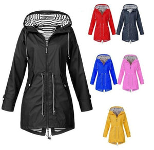 Women Casual Long Jacket Rain Coat Long Sleeve Hooded Windbreaker Coat