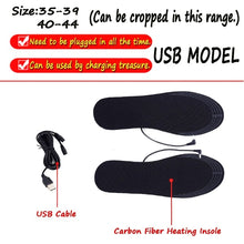 Load image into Gallery viewer, USB Electric Heated Cuttable Black Shoe Insoles Feet Warmer Sock Pad Mat with Cable