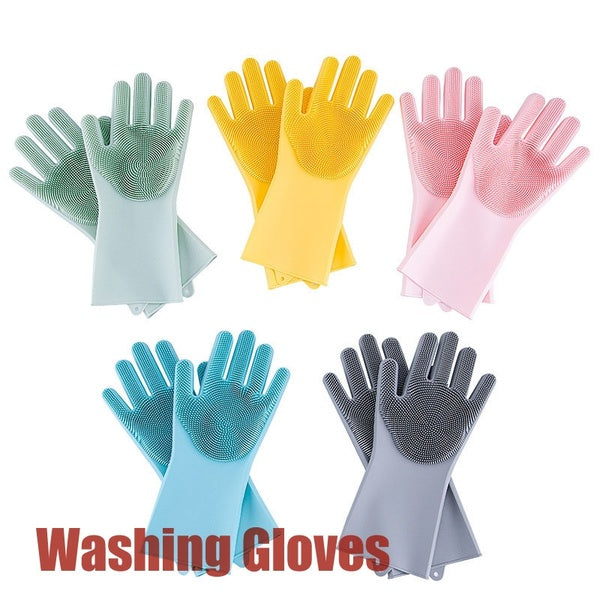 Multifunction Silicone Dishwashing Gloves Use for Kitchen Household Cleaning