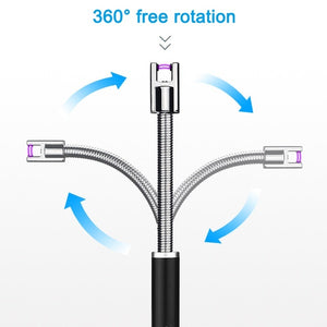 360 Degree Rotation Pulse Arc Lighter Rechargeable Usb Windproof Lighter Portable BBQ Lighter