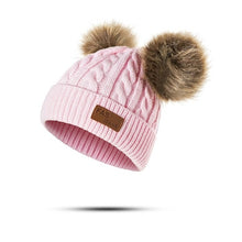 Load image into Gallery viewer, Children Winter Hat Knitted Beanies Double Hairball Thick Baby Hat