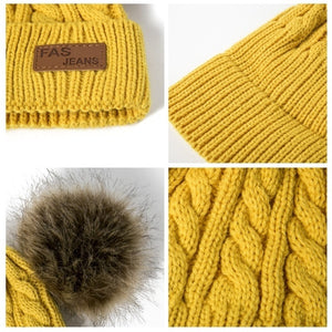 Children Winter Hat Knitted Beanies Double Hairball Thick Baby Hat