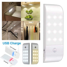 Load image into Gallery viewer, USB Rechargeable 12LED Auto PIR Motion Sensor Closet Night Light