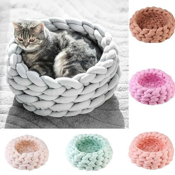 DIY Handmade Knitted Crude Wool Weaving Pet Nest Dog Cat Bed